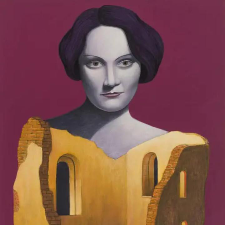 Gemälde, Marlene Dietrich mit Ruine